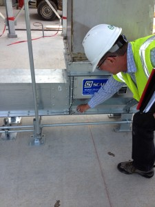 inspector looks at SCAFCO installation at Kansas State University