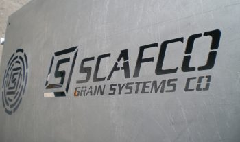 SCAFCO Grain Systems logo cutout on steel surface
